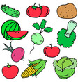 collection stock of vegetables set art vector image vector image