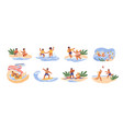 cute children play games on summer beach siblings vector image