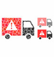 danger transport truck mosaic icon unequal vector image vector image