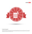 delete icon - red ribbon banner vector image