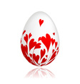 Easter egg with red hearts for your design vector image vector image