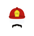 face of fireman in red helmet and mustache vector image vector image