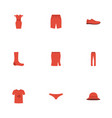 flat icons pants swimming trunk apparel and vector image vector image