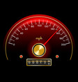gold and red speedometer dashboard in retro style vector image vector image