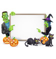 halloween witch and frankenstein banner vector image vector image