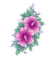 hand drawn floral bunch with pink hibiscus vector image