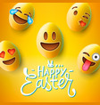 happy easter poster easter eggs with cute smiling vector image vector image