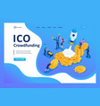 isometric ico crowdfunding in cryptocurrency vector image