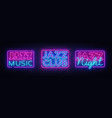 jazz music neon signs collection jazz vector image