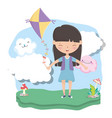 kids zone cute little girl with kite in the vector image