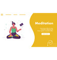 landing page meditation concept vector image