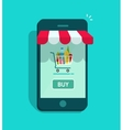 Mobile online store smartphone storefront vector image vector image