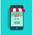 Mobile online store smartphone storefront vector image