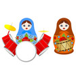 nesting dolls with a drum vector image