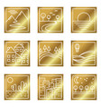 nine gold square simple icons vector image vector image