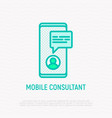 online consultant thin line icon vector image vector image