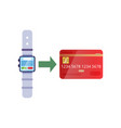 replenishment plastic card using smartwatch vector image