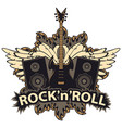 rock and roll banner with guitar speakers wings vector image vector image
