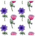 seamless background flower anemones vector image vector image