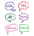 set of speech bubbles in comic style hand vector image vector image