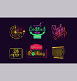set original neon signs for 24 open vector image