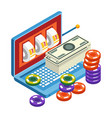 slot machine in laptop online casino and gambling vector image vector image