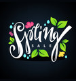 spring sale lettering composition with images vector image