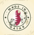 Stamp with map flag of Qatar vector image vector image