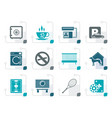 stylized hotel and motel amenity icons vector image vector image