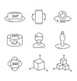 thin line icons of virtual reality innovation vector image vector image