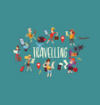 tourist traveling people traveler man woman vector image vector image