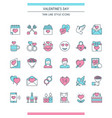 valentines day icons set vector image vector image