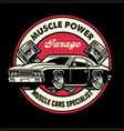 vintage shirt design muscle car garage badge vector image vector image