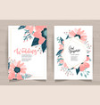 wedding invitation card front back side set vector image vector image