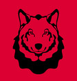 wolf face flat style front vector image vector image