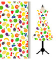 women dress fabric with fruits pattern vector image vector image