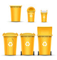 yellow recycling bin bucket for plastic vector image vector image
