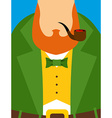 Leprechaun in yellow vest Green old frock coat vector image