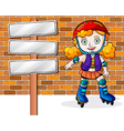 A girl rollerskating beside the empty signages vector image