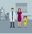 mother and baby daughter visit doctor s office vector image