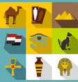 ancient egypt icon set flat style vector image vector image