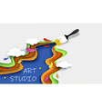 art studio concept layered paper cut style vector image