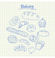 bakery doodles squared paper vector image