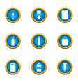 barrel icons set flat style vector image