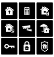 black home security icon set vector image