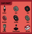 car part color outline isometric icons vector image vector image
