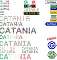 Catania text design set vector image vector image