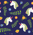 cute unicorn head seamless pattern vector image vector image