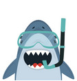 cute white shark with diving equipment vector image vector image