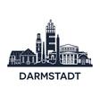 darmstadt skyline emblem vector image vector image